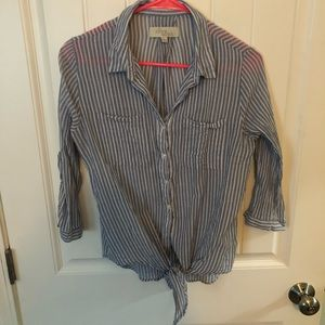 Blue and white stripped blouse